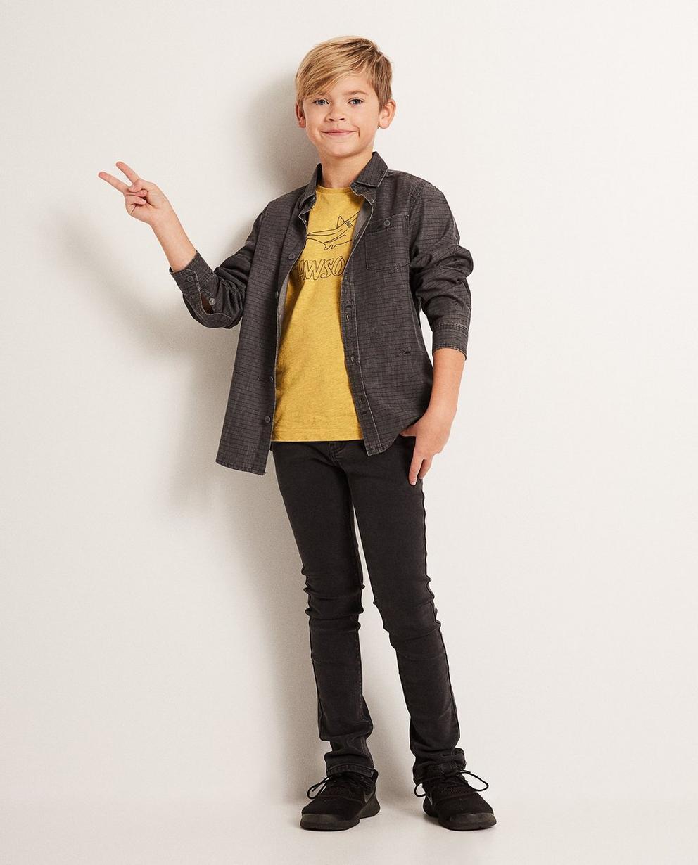 Jeanshemd mit Haiprint - verwaschener Look - JBC